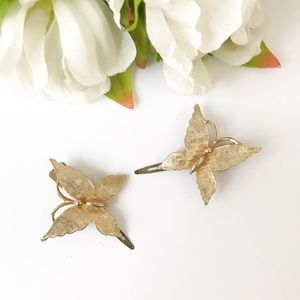Vintage Gold Butterfly Hair Clips 90s Style AC448